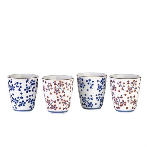 Elegant Living CUPS JAPANESE DOT SET4