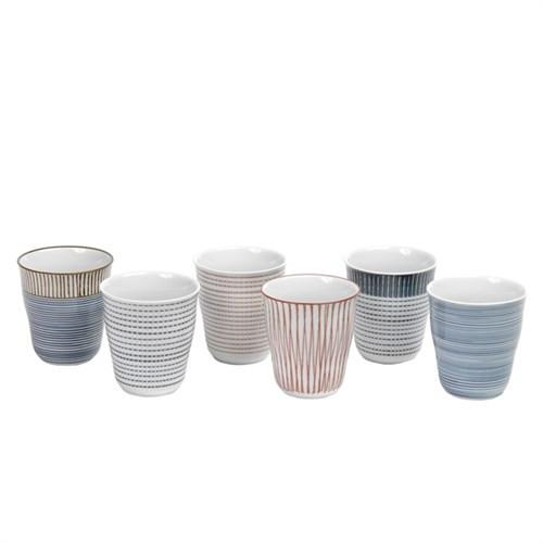 Elegant Living CUPS BLOCK STRIPES SET6