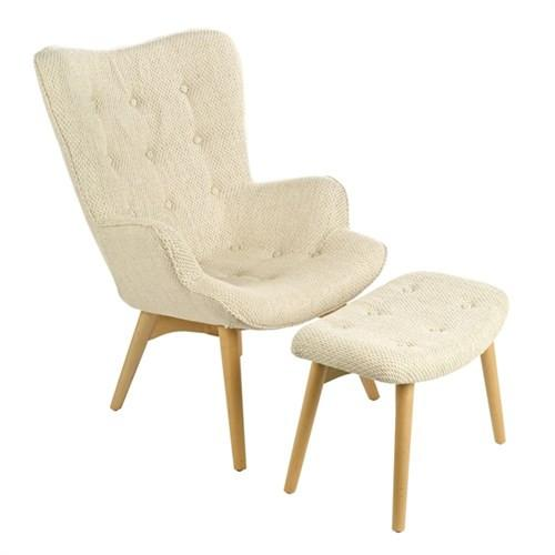 Elegant Living CHAIR JOAN ECRU + FOOTSTOOL