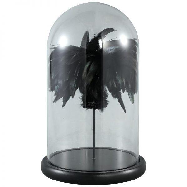Elegant Living ZEPP BELL JAR BLACK FEATHER L