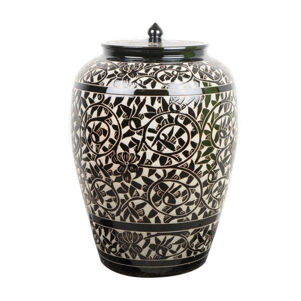 Elegant Living БУРКАН CONDIMENT JAR SCULPTED BLACK AND WHITE