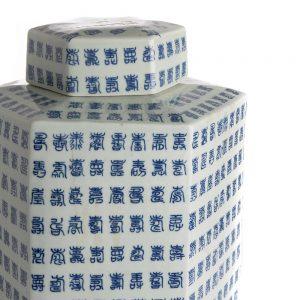 Elegant Living БУРКАН TEA POT HEXAGONAL BLUE WHITE
