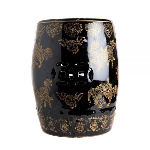 Elegant Living STOOL BLACK GOLD