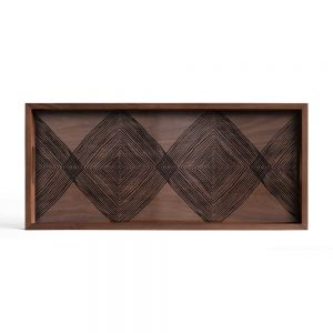 Elegant Living ПОДНОС WALNUT LINEAR SQUARES RECTANGULAR