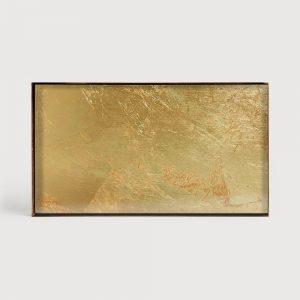 Elegant Living ПОДНОС GOLD LEAF GLASS M